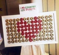 red heart on gold donut wall