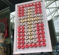 pink white and yellow cross donut wall