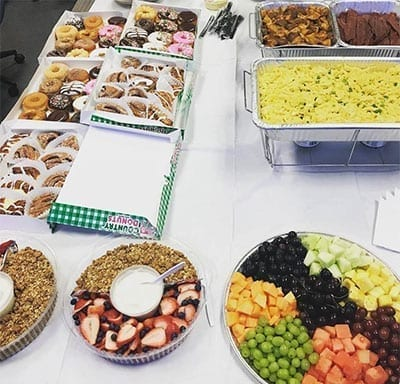 breakfast, fruit, donuts and baked goods catering