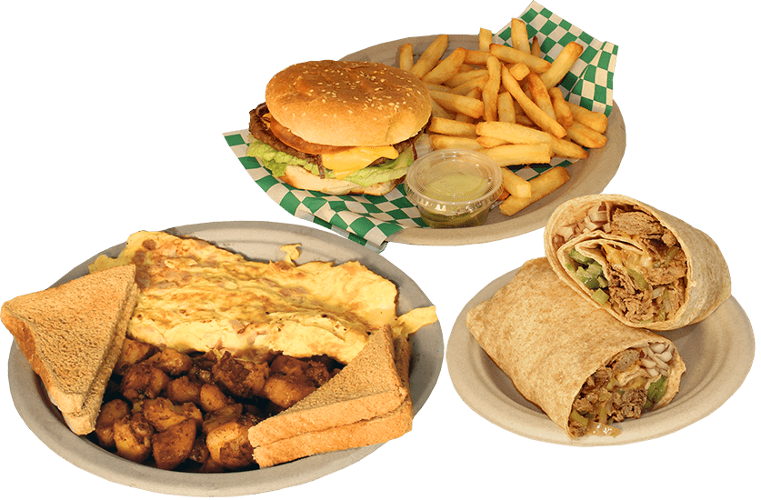 burger, fries, wrap, and egg omelette with potatoes