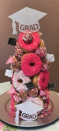 graduation themed donut tower