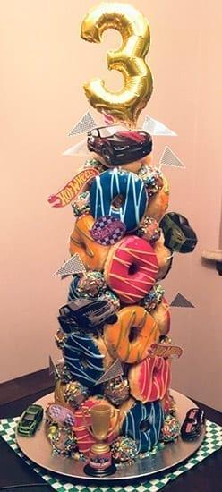 hotwheels themed donut tower for boys birthday