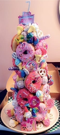pink unicorn themed donut tower for girls birthday