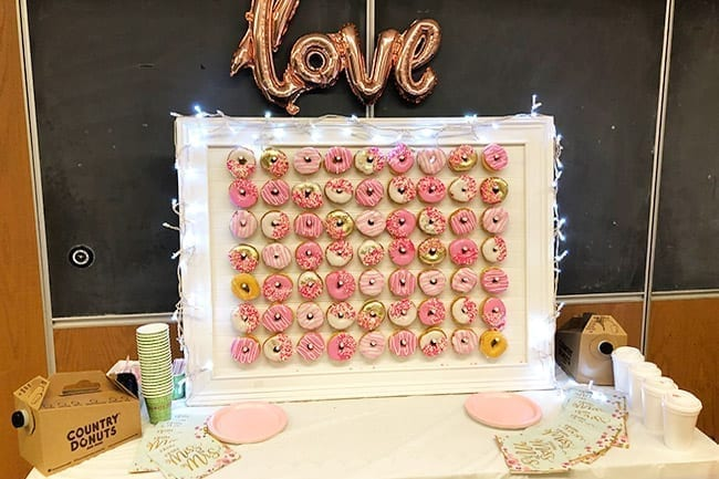 pink and white love donut wall