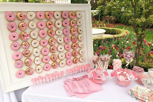 pink, gold, and white decorated donut wall