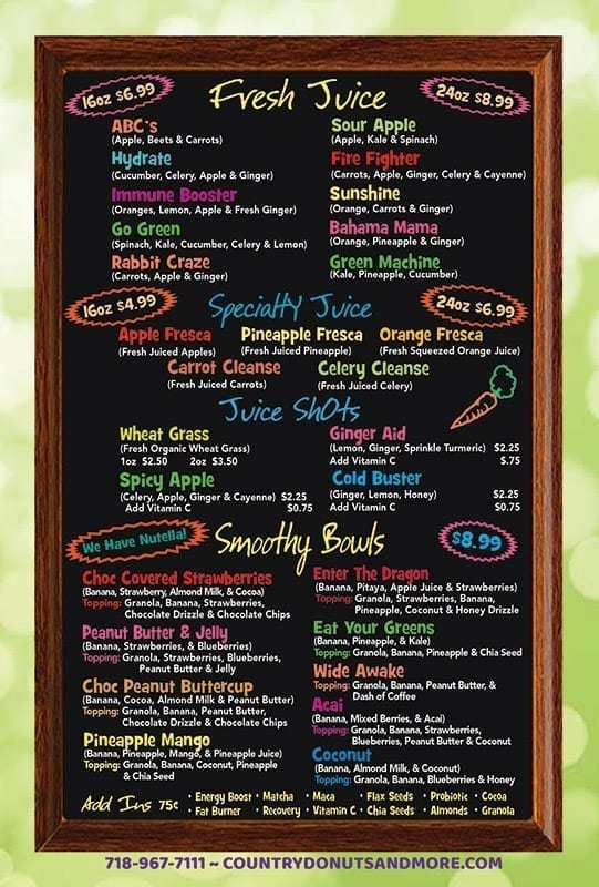 Fresh Squeezed Juice and Smoothy Bowl Menu